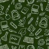 School seamless pattern with hand drawn icons on Stock Photos