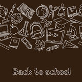 School seamless pattern with hand drawn icons on Royalty Free Stock Photos
