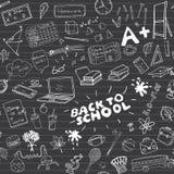 School seamless pattern HandDrawn Doodles, Vector Illustration Stock Photos