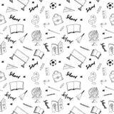 School seamless pattern HandDrawn Doodles, Vector Illustration Stock Image