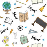 School seamless pattern HandDrawn Doodles, Vector Illustration Royalty Free Stock Images