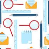 School seamless pattern. Magnifying glass, ballpoint pen, ruler, envelope letter elements vector illustration