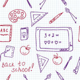 School seamless pattern in the notebook Stock Images