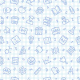 School Seamless Pattern on the Squared Sheet Royalty Free Stock Image