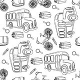 School Seamless Pattern Vector Illustration SCHOOL BUS & BIKE WHITE. Paper for Birthday and Party, Wall Decorations, Scrapbooking, Baby Book, Photo Albums and vector illustration