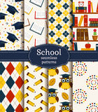 School seamless patterns. Vector set. Stock Images
