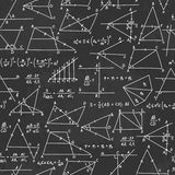 School seamless vector doodle pattern with different mathematica Royalty Free Stock Images