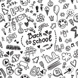 School seamless vector doodle pattern with different school supplies. Stock Photos