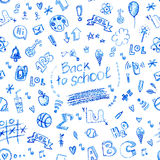 School seamless vector doodle pattern with different school supplies (hand drawn with pencils). Stock Photography