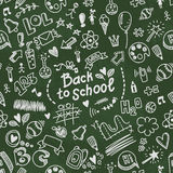 School seamless vector doodle pattern with school supplies Royalty Free Stock Image