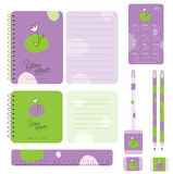 School set. Design elements for notebook and other school accessories Royalty Free Stock Photo