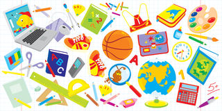 School set. Vector clip-arts of objects for elementary school: laptop, basketball, textbooks, satchel, paints, globe and many other things for schoolchildren Royalty Free Stock Photo