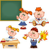 School set. Boy and girl at the blackboard, at the desk, reading a book, teach the alphabet, with flowers and a bell. Vector illustration Stock Photo