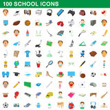 100 school set, cartoon style. 100 school set in cartoon style for any design vector illustration Royalty Free Stock Photo