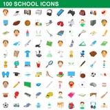 100 school set, cartoon style Royalty Free Stock Photo