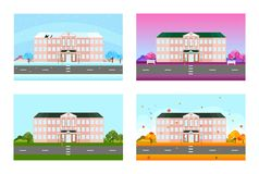 School set in different seasons. Vector background. S Royalty Free Stock Photography