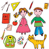 School set - kids and objects Stock Photography