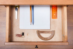 School set in open drawer Royalty Free Stock Images