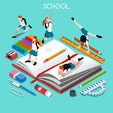 School Set 05 People Isometric Stock Images