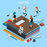 School Set 04 People Isometric Stock Photo