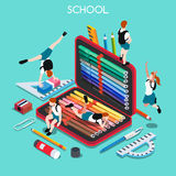 School Set 03 People Isometric Stock Image