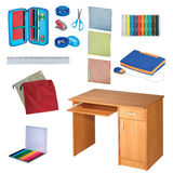 School set on white background. Colorful school set isolated on white background Stock Photography
