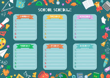 School shedule for a week. Vector illustration with school supplies vector illustration