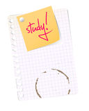 School sheet with study note. Yellow post it on squared sheed with text for study Stock Photos