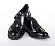 School Shoes. Glossy Oxford Lace Up Shoe stock photo