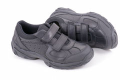 School shoes. Children black shoes ready back for school,  on white background Royalty Free Stock Image