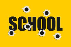 School shooting. Bullet holes made by firearm. Massacre at an educational institution. Vector illustration royalty free illustration