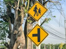 School sigh on the pole. In thailand Stock Photo