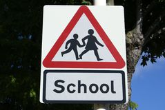 School Sign. Road sign for approaching school Stock Photos