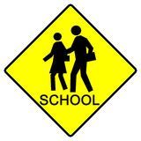 School Sign. A sign marking a children's crossing area Royalty Free Stock Photography