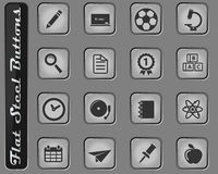 School simply icons. School vector web icons on the flat steel buttons vector illustration
