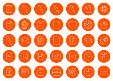 For a school site or booklet, a set of thirty-five  linear round monochrome icon icons, color change in one click Royalty Free Stock Photo