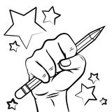 School sketch with hand pencil. And stars isolated on white background. Vector illustration royalty free illustration