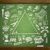 School  sketches on blackboard Stock Images