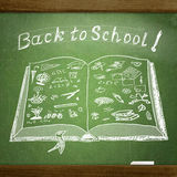 School  sketches on blackboard Stock Photo