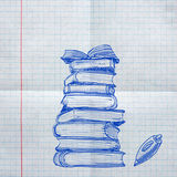 School sketches on checkered paper Royalty Free Stock Photo