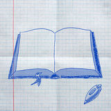 School sketches on checkered paper Royalty Free Stock Photography