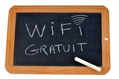 Free Wifi written in French on a school slate royalty free illustration
