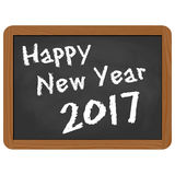 School slate with New Year 2017 greetings. Greetings on school slate with text Happy New Year 2017 Stock Photography