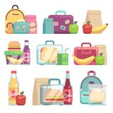 School snacks bags. Healthy food in kids lunch boxes vector set royalty free illustration