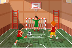 School soccer game. Kids playing soccer, vector illustration. School soccer game. Kids playing soccer. Athletic stairs, school hall game, basketball and soccer royalty free illustration
