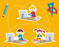 School social network communication Stock Images