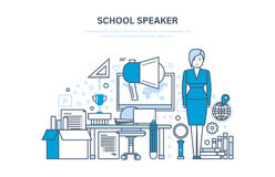 School speaker concept. Training, education. Teaching on lesson in classroom. Stock Photography