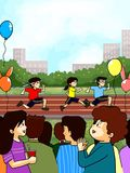 family cheering at School sport day royalty free illustration