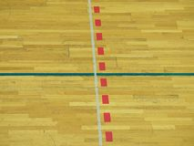 School sporting hall. Detail of markings on the floor Royalty Free Stock Photography
