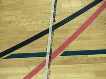 School sporting hall. Detail of markings on the floor Royalty Free Stock Photos